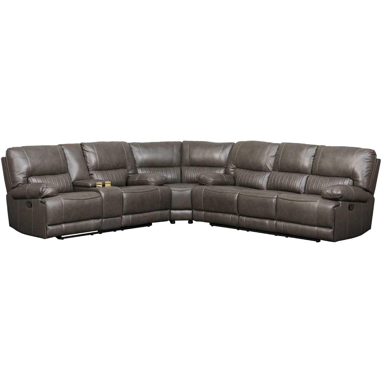 Picture of 3PC Gray Leather Power Reclining Sectional