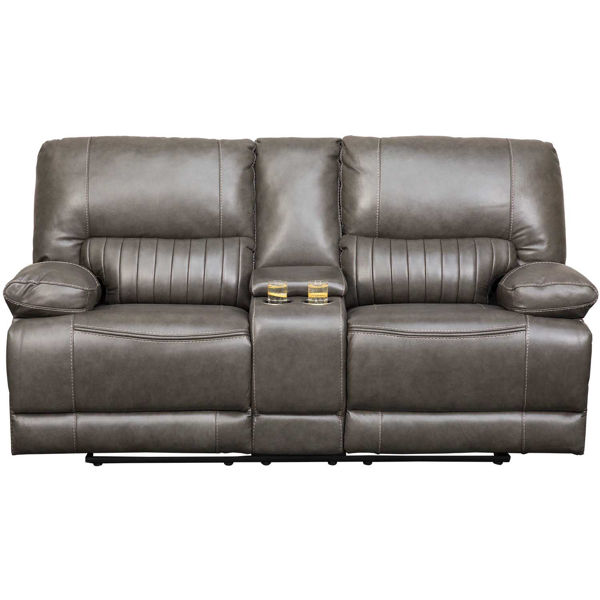 Picture of Rigby Gray Leather Recline Console Loveseat