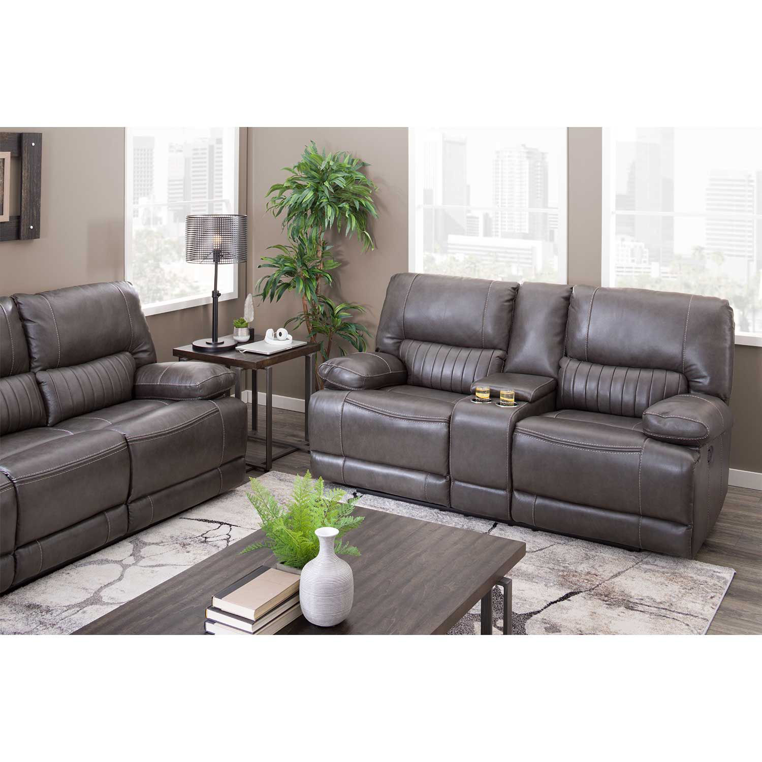 Picture of Rigby Gray Leather Recline Sofa