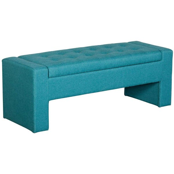 Picture of Lyla Teal Tufted Storage Bench