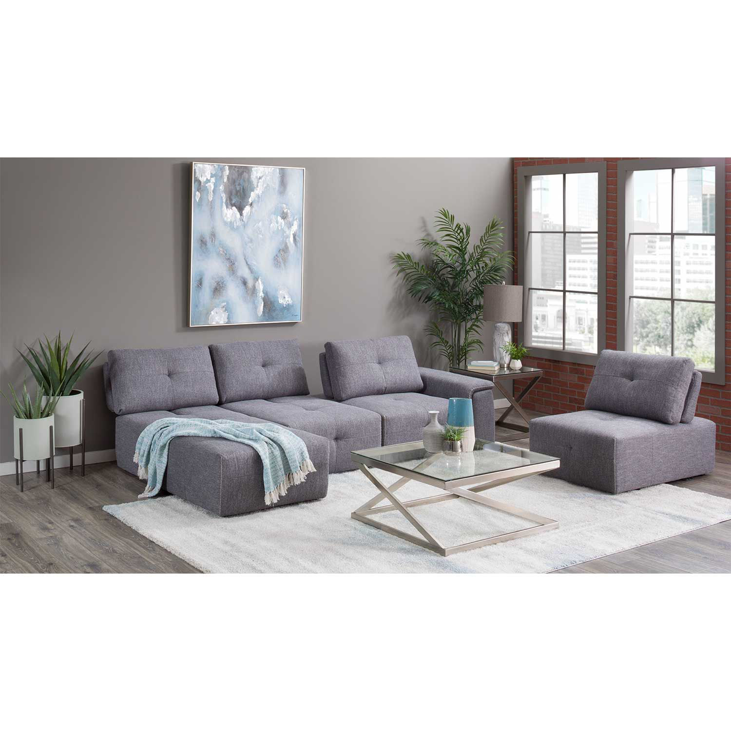 Picture of Adapt Gray 4 Piece Sectional with Chaise