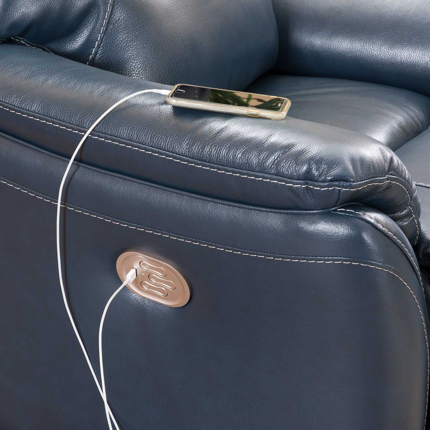 Picture of Dellington Marine Power Reclining Console Love with Headrest and Lumbar
