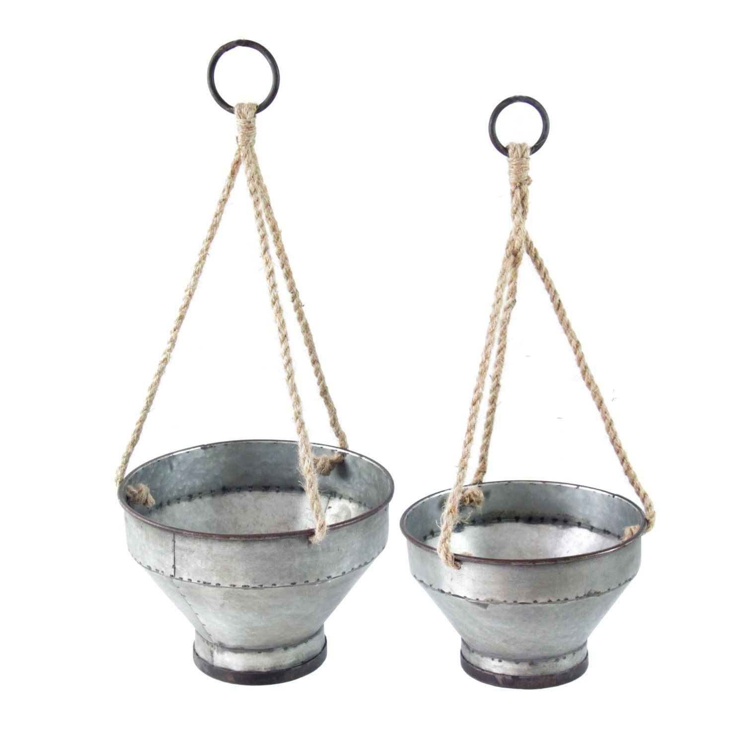 Picture of Set of 2 Metal Hanging Planters