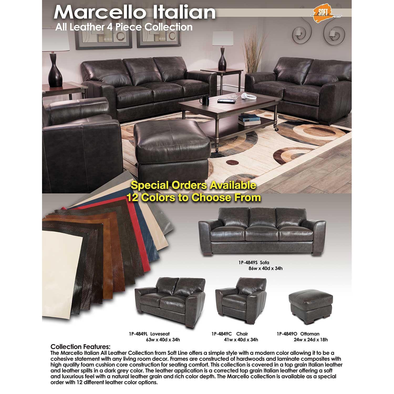 Picture of Dark Grey Italian All Leather Ottoman
