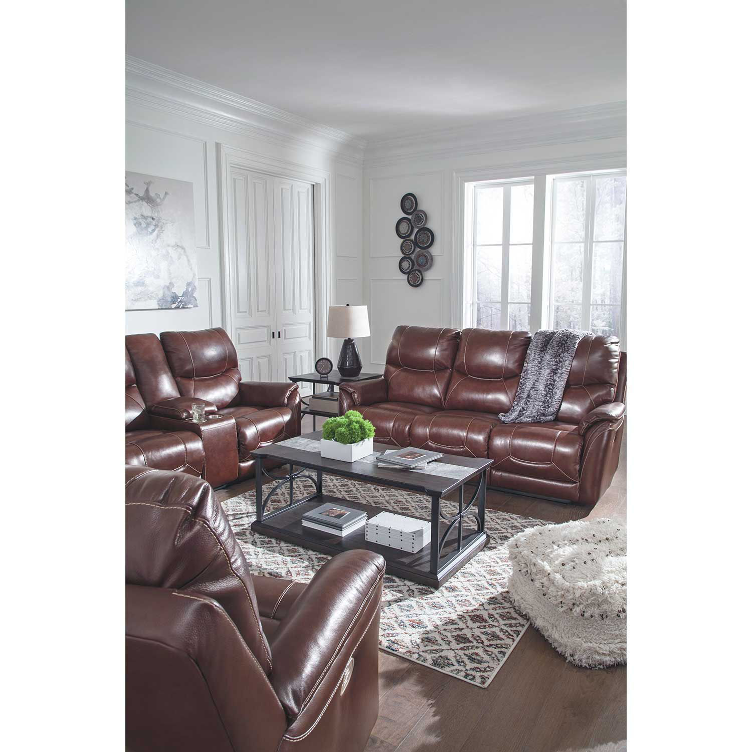 Picture of Dellington Walnut Power Reclining Console Love with Headrest and Lumbar