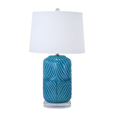 Picture of Teal Ceramic Barrel Table Lamp