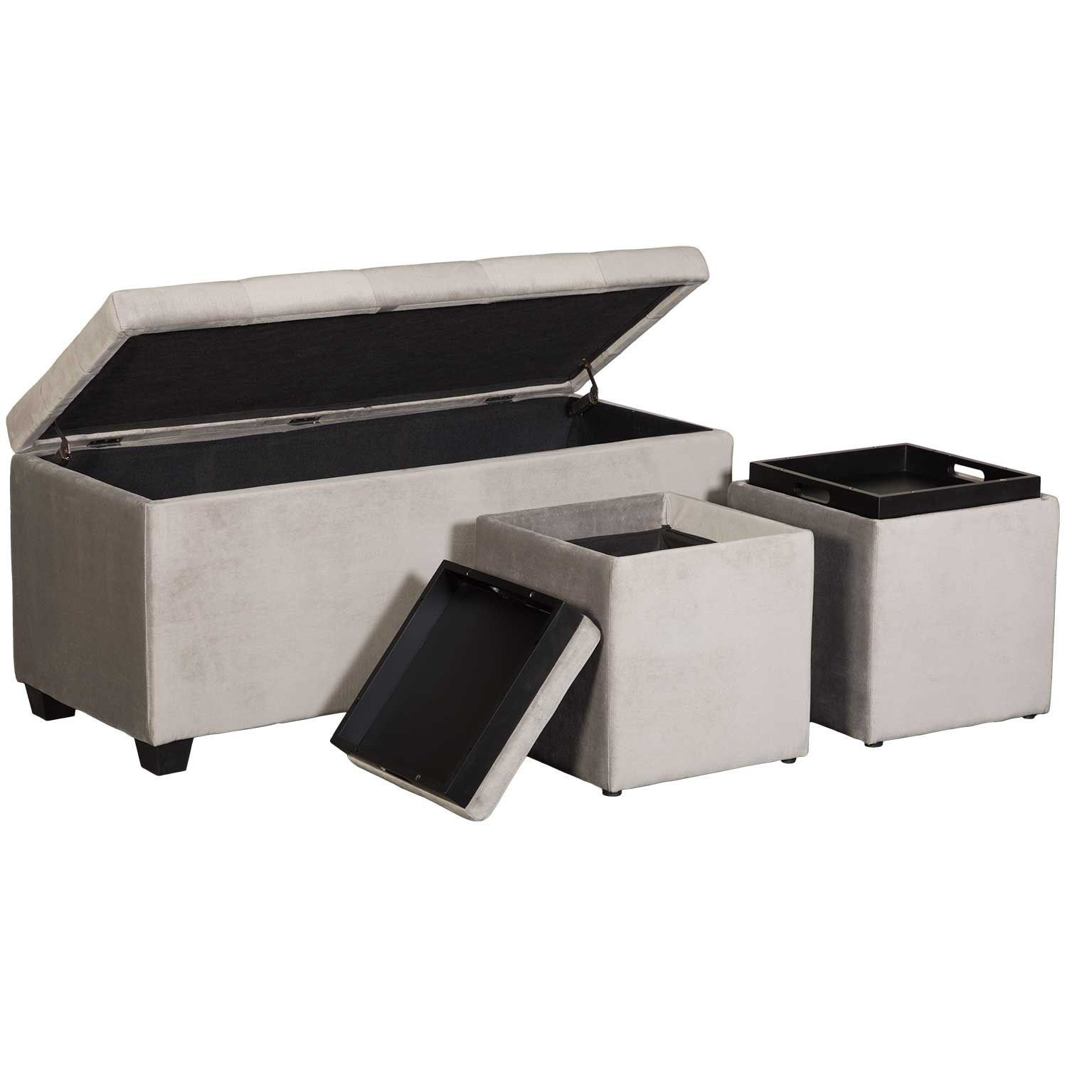 Picture of Gray Shoe Storage Bench with 2 Cube Storage Ottoma