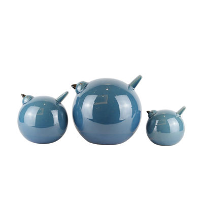 Picture of Set of 3 Teal Ceramic Birds