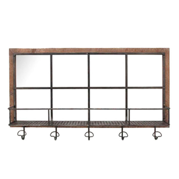 Picture of Wood Metal Shelf with Hooks