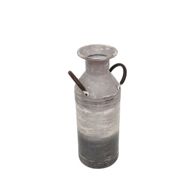 Picture of Gray Striped Metal Milk Can