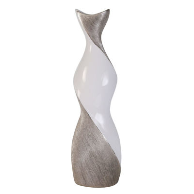 Picture of White Silver Twist Vase 24IN