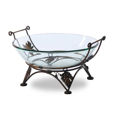 Picture of Round Glass Bowl on Iron Stand with Grapes