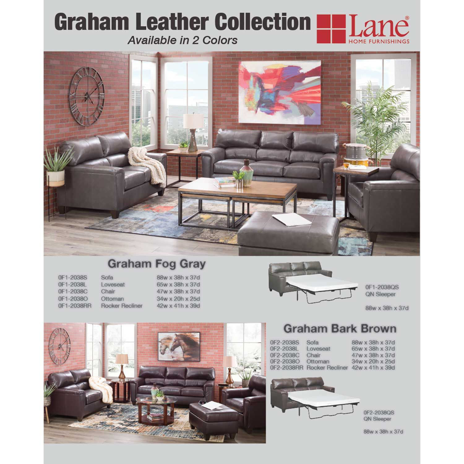 Picture of Graham Bark Leather Queen Sleeper