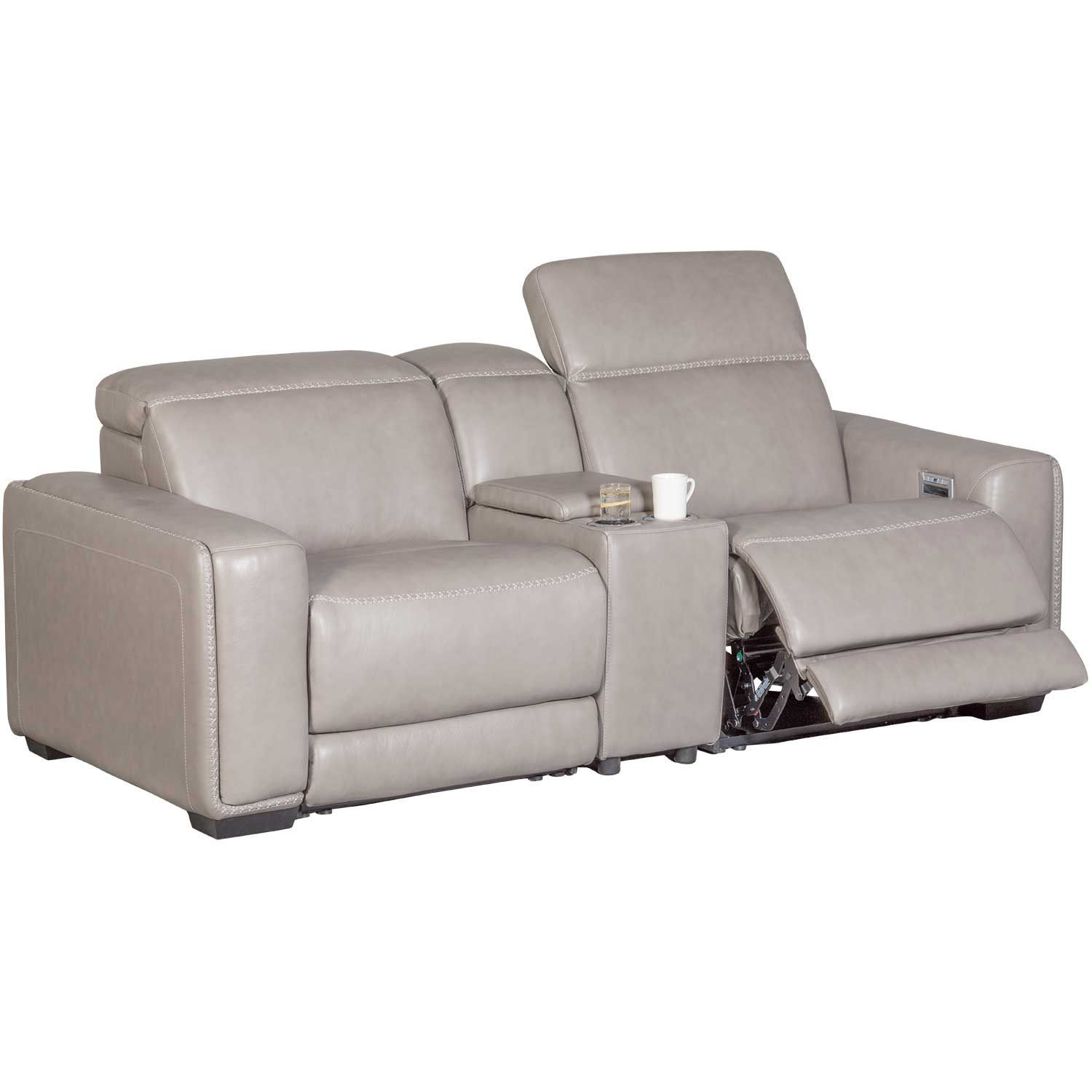 Picture of Correze Leather Power Reclining Console Loveseat w