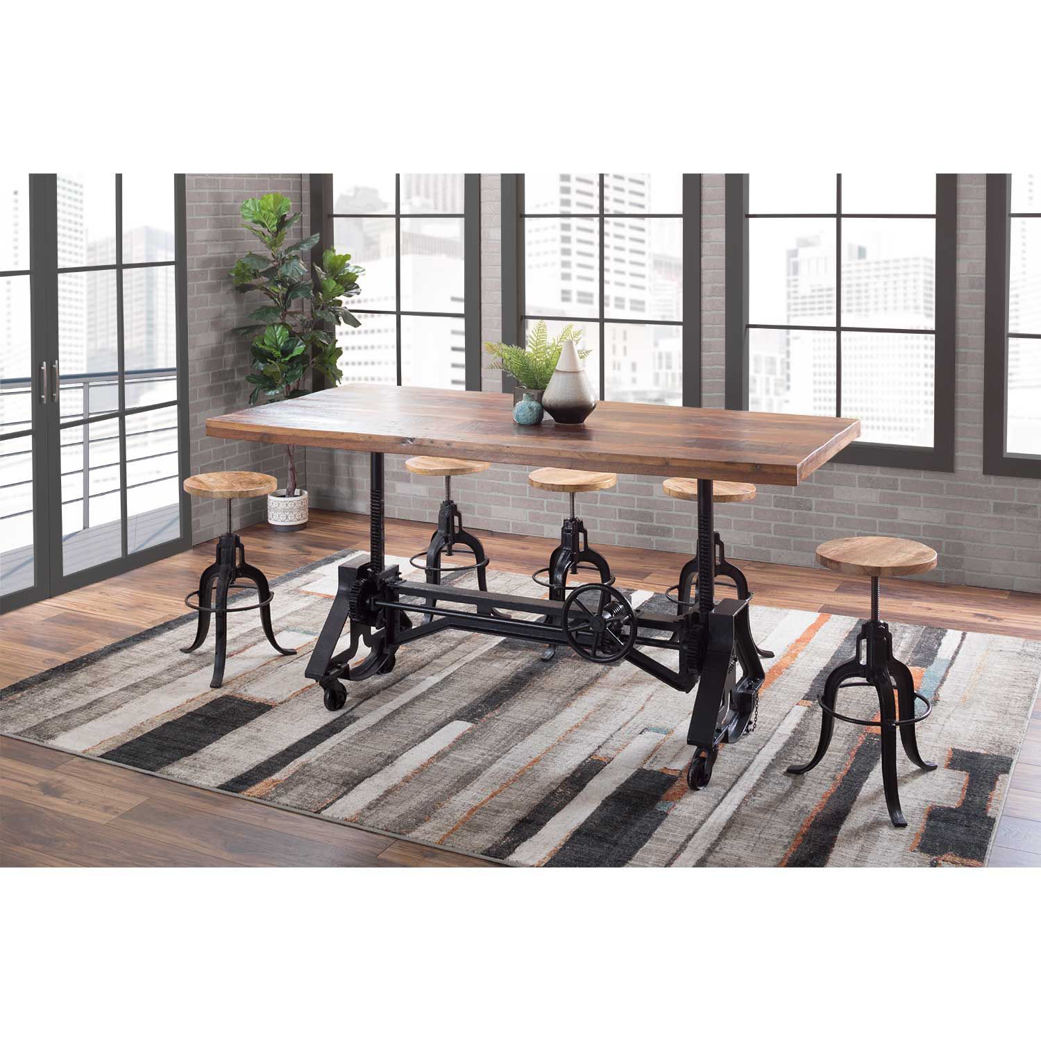 Picture of Industrial Crank Table with Reclaimed Wood Top