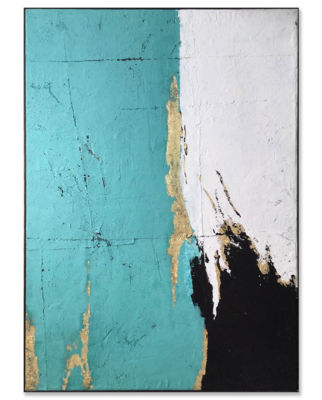 Picture of Framed Teal Grey Black Abstract
