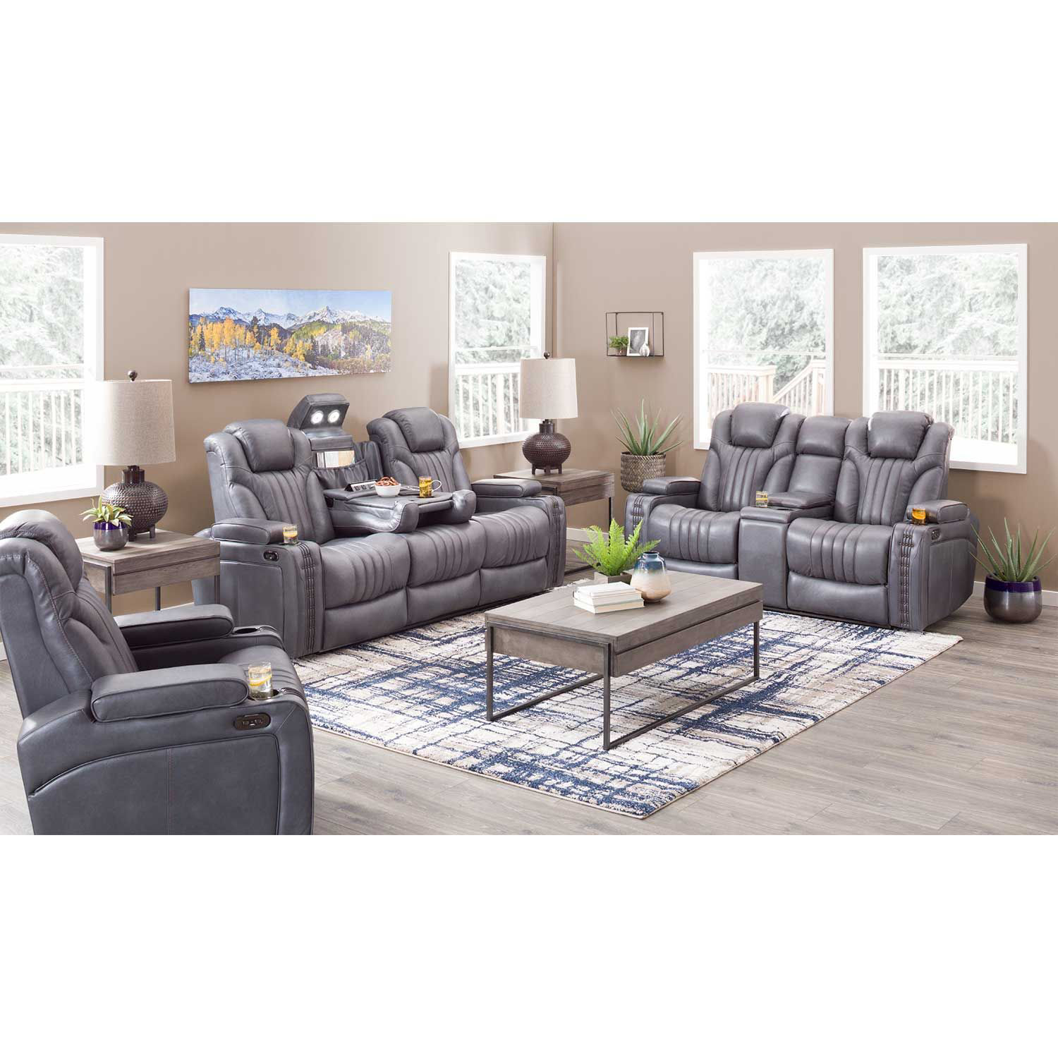 Picture of Outsider Gunmetal Gray Leather Power Reclining Sofa with Drop Table and Power Adjustable Headrest