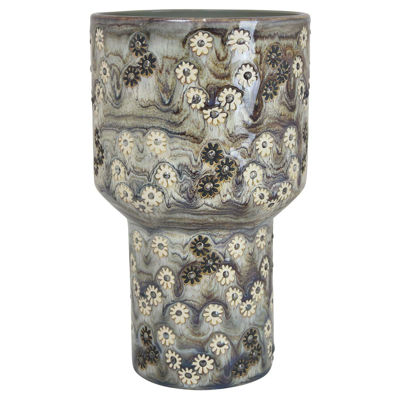 Picture of Blue Pedastal Vase Patterened