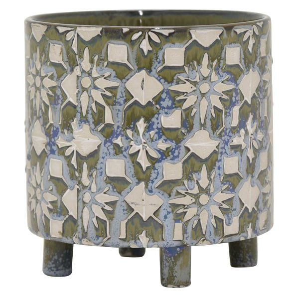 Picture of BLUE PATTERNED CERAMIC PLANTER