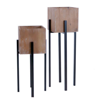 Picture of Set 2 Wood Metal Tall Planters