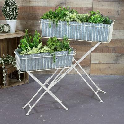 Picture of Set 2 White Galvanized Planters