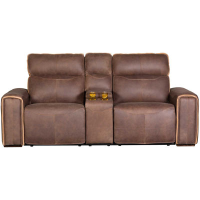 Picture of Italian Leather Power Recline Console Loveseat wit