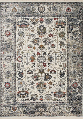 Picture of Serene Cream Blue Red Elegant 8x10 Rug