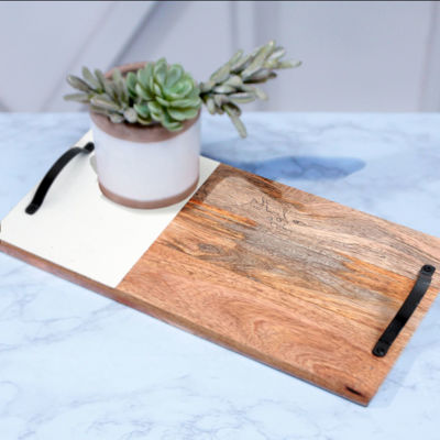 Picture of Mango Wood Tray With White
