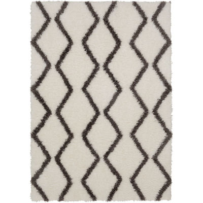 Picture of Pattern Shag Grey On White 5x7 Rug