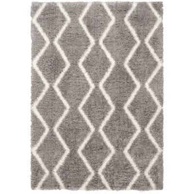Picture of Pattern Shag White On Grey 5x7 Rug