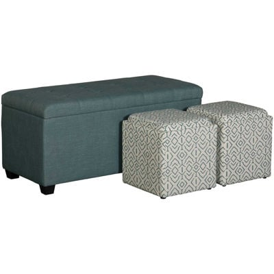 Picture of Aqua Shoe Storage Bench with 2 Cubes