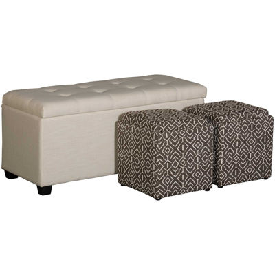 Picture of Beige Shoe Storage Bench with 2 Cubes