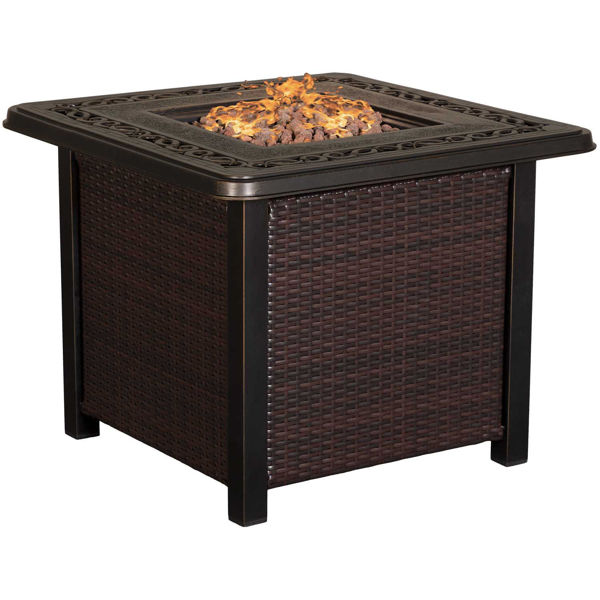 """Picture of Zeal 32"""" Square Wicker Fire Pit"""
