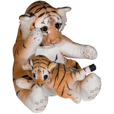 """Picture of 24"""" Soft Brown Tiger with Baby"""