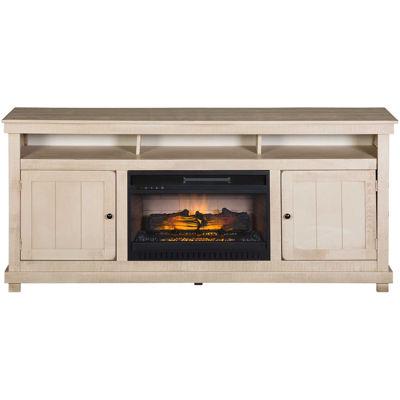 Picture of La Costa White Rustic 72-Inch Fireplace Console