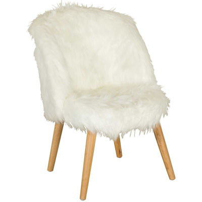 Picture of Boho White Faux Fur Accent Chair