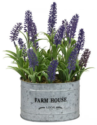 Picture of Faux Flower Lavender/Metal Pot