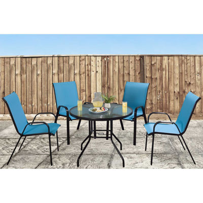 Picture of Beverly 5 Piece Set Round Table Blue Chairs